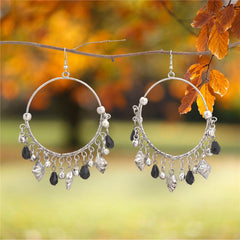 Ornamenta Earrings Hanging Hook Jewelry Silver Tone Beaded For Girls and Women