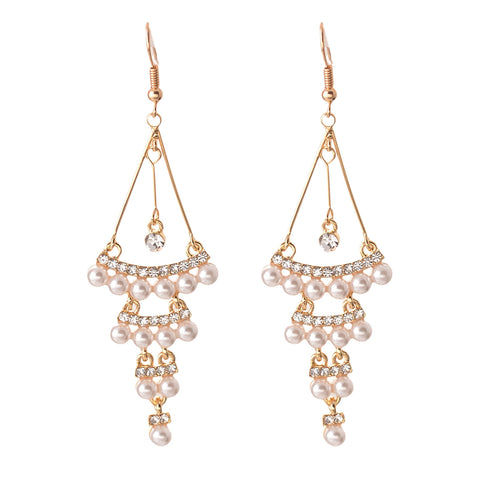 Fashion Hanging Hoop Earrings Zircons Flower For Women