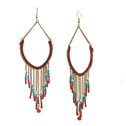 Fashion Dangler Lightweight Beaded Hook Earrings For Women Handmade