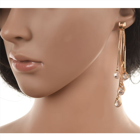 Fashion Pierced Hanging Dangler Earrings For Women With Zircons - StompMarket