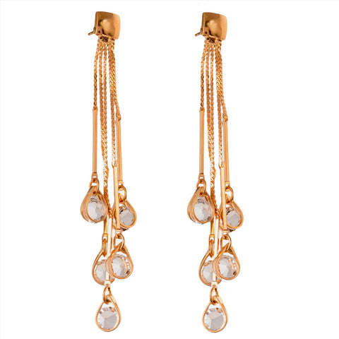 Fashion Pierced Hanging Dangler Earrings For Women With Zircons