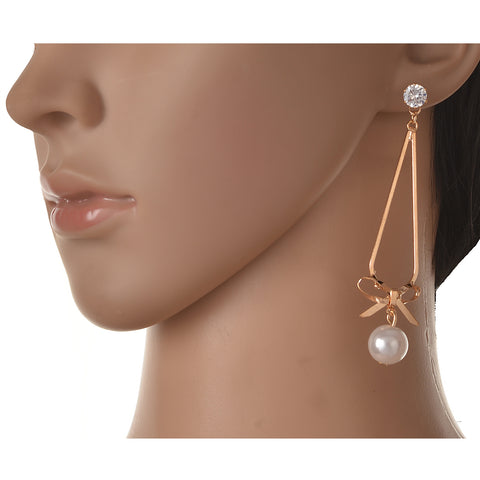 Fashion Pierced Dangler Hanging Earrings For Women With Zircons Pearls - StompMarket