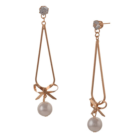 Fashion Pierced Dangler Hanging Earrings For Women With Zircons Pearls