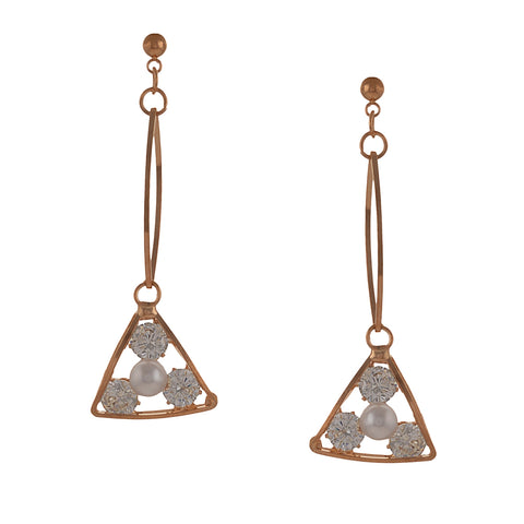 Fashion Pierced Dangler Hanging Earrings For Women With Zircons - StompMarket