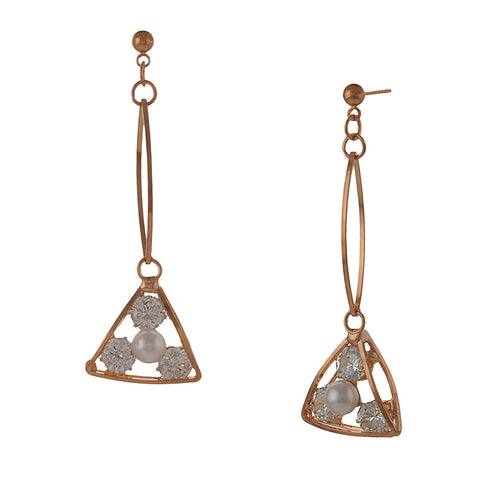 Fashion Pierced Dangler Hanging Earrings For Women With Zircons