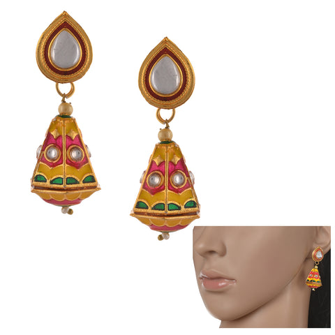 Traditional Lightweight Jhumki Earrings With Meenakari Kundan Pearls - StompMarket