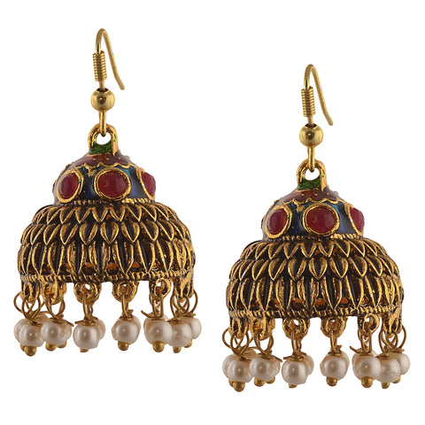 Traditional Gold Tone Lightweight Jhumki Earrings With Meenakari Pearls