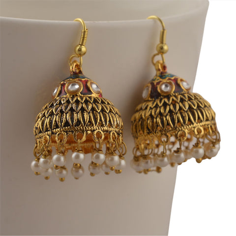 Traditional Gold Tone Lightweight Jhumki Earrings With Meenakari Pearls - StompMarket