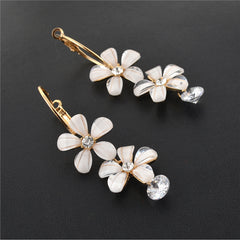 Fashion Hanging Hoop Earrings Golden With Zircons Flower For Women - StompMarket