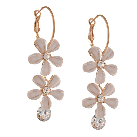 Fashion Hanging Hoop Earrings Golden With Zircons Flower For Women