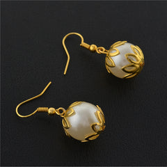 Fashion Golden Hanging Hook Earrings With Pearls For Women - StompMarket