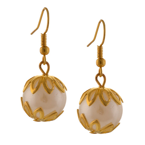 Fashion Golden Hanging Hook Earrings With Pearls For Women