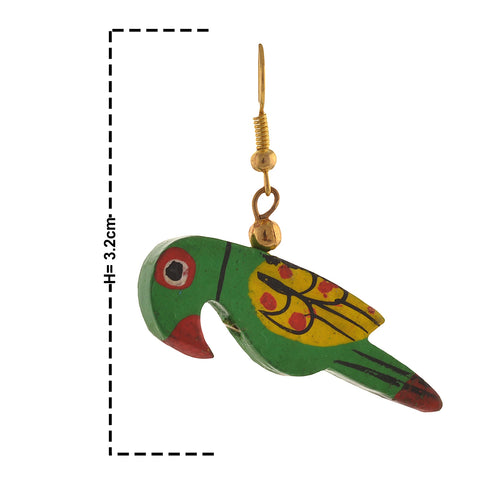Fashion Dangle And Drop Hand Painted Green Parrot Earrings For Girls - StompMarket