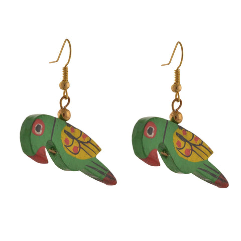 Fashion Dangle And Drop Hand Painted Green Parrot Earrings For Girls