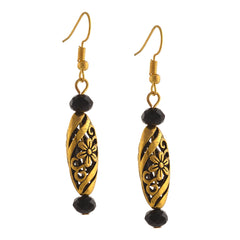 Fashion Hook Dangle Golden Cutwork Earrings Floral For Women - StompMarket