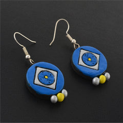 Fashion Handmade Painted Round Terracotta Hook Earrings Blue - StompMarket