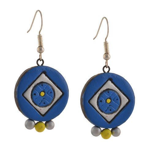 Fashion Handmade Painted Round Terracotta Hook Earrings Blue