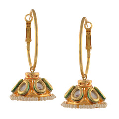 Traditional Hanging Hoop Jhumki Earrings With Kundan Pearls For Women - StompMarket