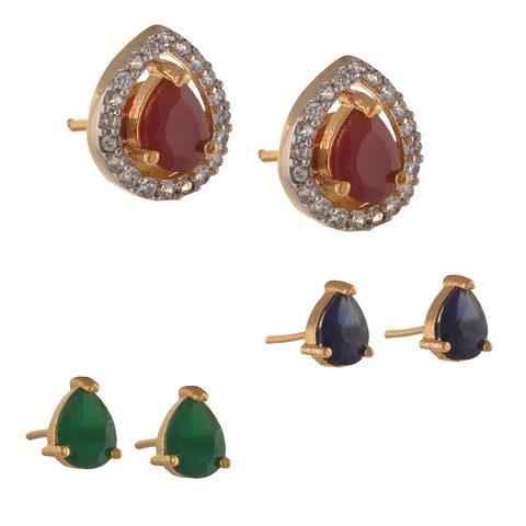 Fashion Interchangeable Stud Earrings Combo Of 3 With American Diamonds - StompMarket