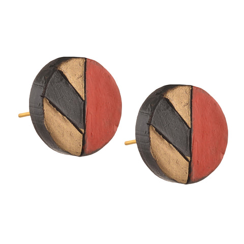Fashion Handmade Painted Terracotta Round Stud Earrings