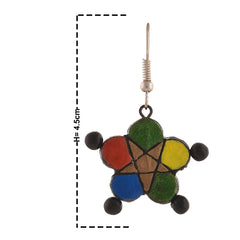 Fashion Handmade Painted Star Shaped Terracotta Hook Earrings Multicolor - StompMarket