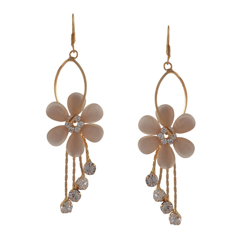 Fashion Floral Hook Dangle Earrings For Women With Zircons - StompMarket