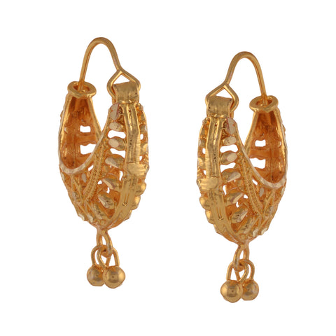 Fashion Golden Hoop Earrings With Cutwork For Girls And Women