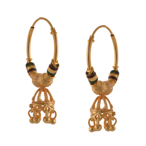 Traditional Golden Hoop Jhumki Earrings With Zircons For Women