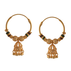 Traditional Golden Hoop Jhumki Earrings With Zircons For Women - StompMarket