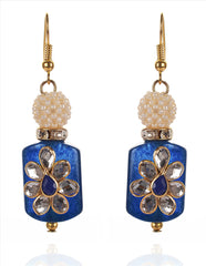 Fashion Hanging Hook Earrings For Women With Kundan Stones - StompMarket