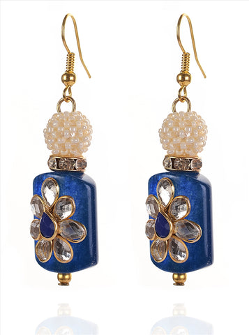 Fashion Hanging Hook Earrings For Women With Kundan Stones