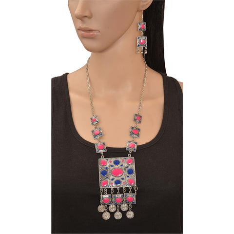Fashion Oxidized Silver Afghani Style Pendant Necklace Earrings Set - StompMarket