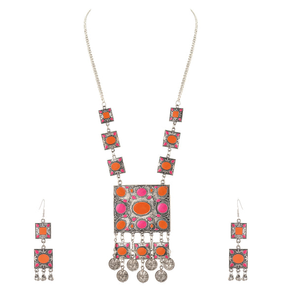 Fashion Oxidized Silver Afghani Style Pendant Necklace Earrings Set