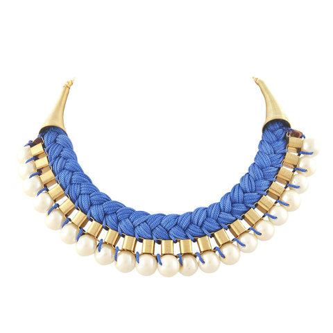 Fashion Choker Necklace Metal Dori Work With Pearl - StompMarket