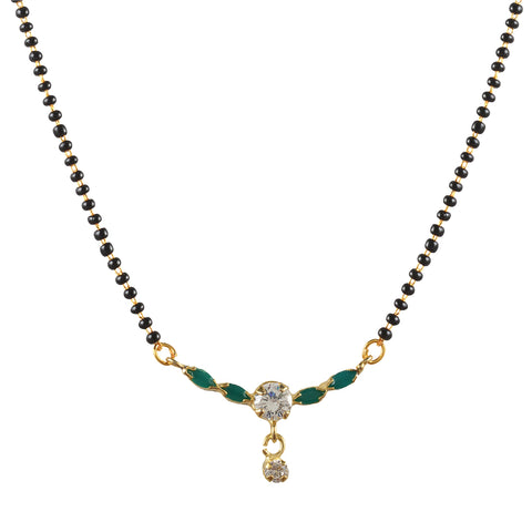 Fashion Floral Pendant Mangalsutra With Ad.