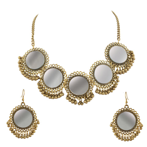 Fashion Afghani Gold Beaded Pendant Necklace Earrings Set With Mirrors