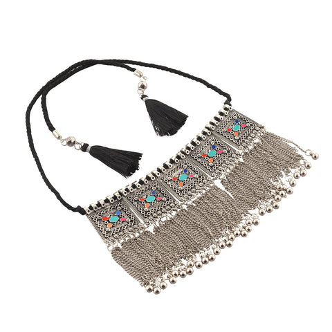 Zephyrr Fashion Boho Style Trendy Oxidized Silver Pendant Necklace With Tassel