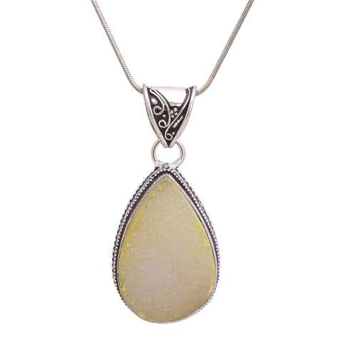 Sanskriti Fashion One of a Kind German Silver Natural Stone Pendant Necklace