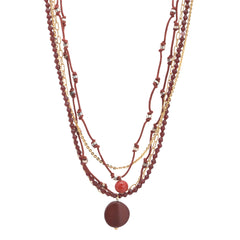 Ornamenta Necklace Handmade Beaded Red Multi Strand Choker For Girls And Women
