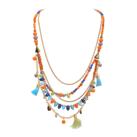 Ornamenta Necklace Fashion Boho Multicolor Beads Tassels Multistrand For Women