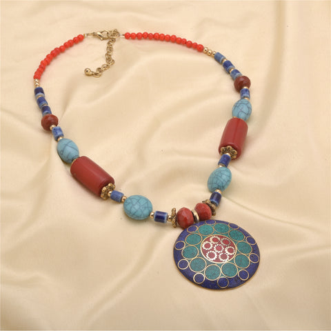 Ornamenta Necklace Hand Beaded Pendant Tibetan Green and Blue Enamel Work Jewelry