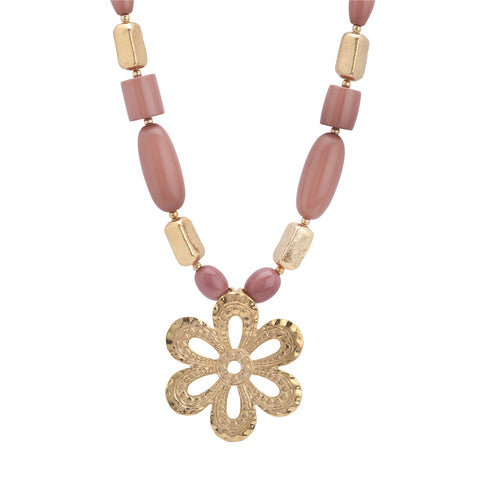 Ornamenta Pendant Necklace Brown and Golden Beaded Tibetan Handmade for Women