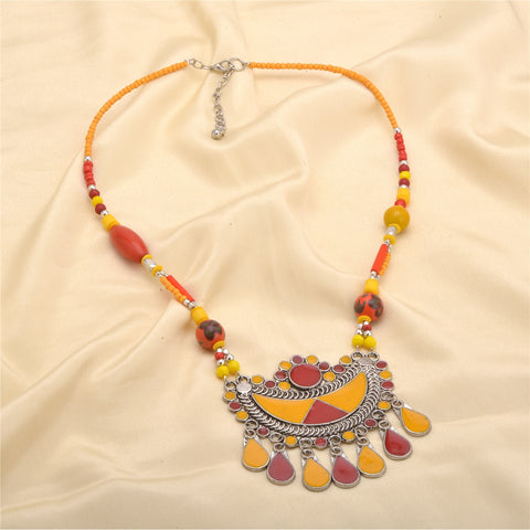 Ornamenta Necklace Afghani Pendant Oxidized Silver with Enamel Work for Women