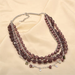 Ornamenta Necklace Purple Hand Beaded Long Multi Strand Choker For Girls