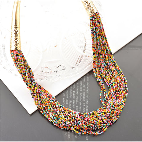 Fashion Multi Strand Beaded Handmade Tribal Boho Necklace For Women - StompMarket
