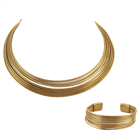 Gold Tone Metallic Non-Precious Metal Choker Necklace And Bracelet Set Combo For Women