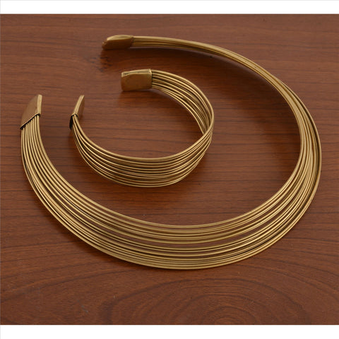 Gold Tone Metallic Non-Precious Metal Choker Necklace And Bracelet Set Combo For Women - StompMarket