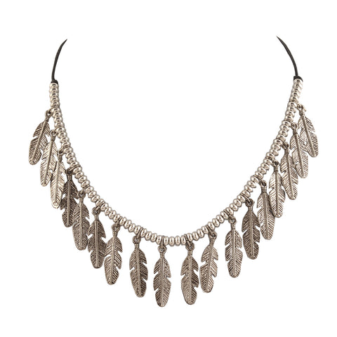 Fashion Oxidized Silver Choker Necklace With Feather Charms Boho