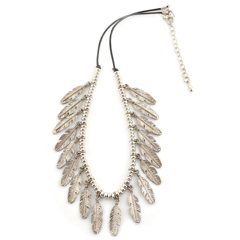 Fashion Oxidized Silver Choker Necklace With Feather Charms Boho - StompMarket