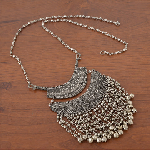 Fashion Oxidized Silver Turkish Bib Choker Beaded Necklace For Women - StompMarket